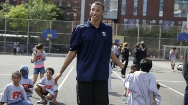 Dante Exum with children during a clinic in New York on Wednesday.
