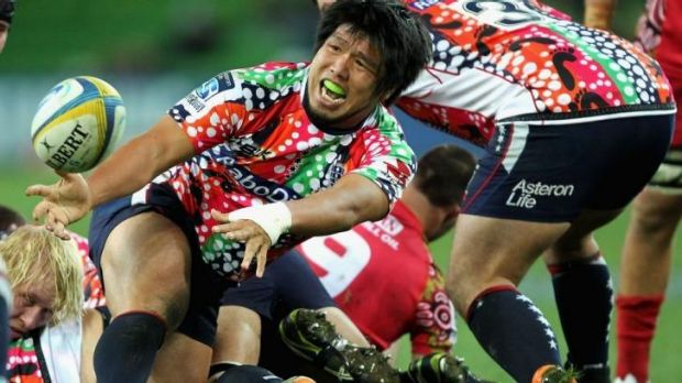 Shota Horie of the Rebels feeds the backline.