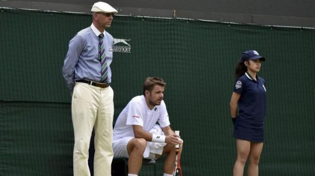 Should players make the call? Stanislas Wawrinka of Switzerland sits in the chair of a line judge during his match ...