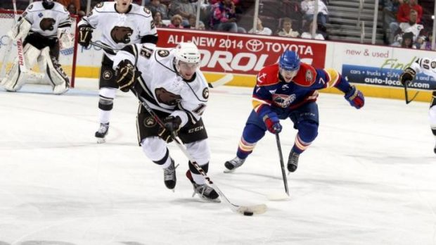 Nathan Walker on the attack for the Hershey Bears. He has been selected by Washington in the NHL draft.