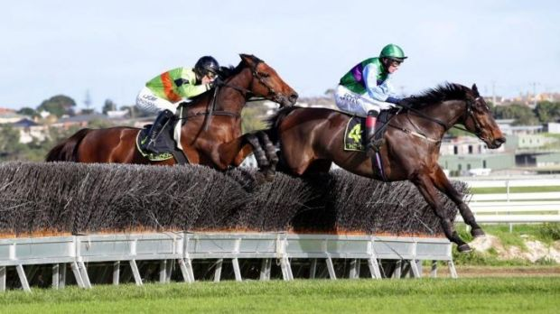 Bashboy and Krase (No.4) jump Warrnambool's last hurdle on Sunday.