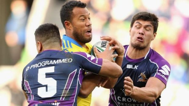 Rematch: Young Tonumaipea (right), in action against Parramatta,  played a starring  role in Storm's controversial ...
