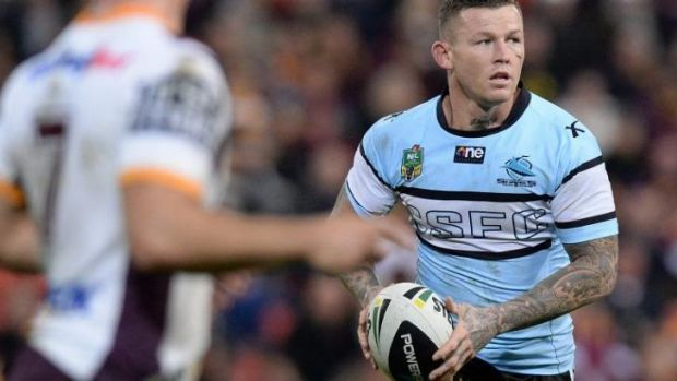 Juvenile behaviour: Cronulla five-eighth Todd Carney in what became his last match for the Sharks against Brisbane on ...