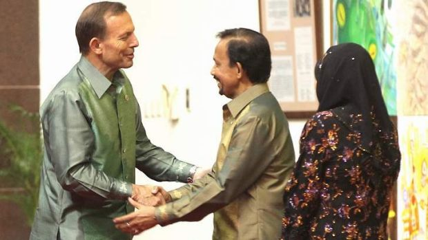 Sultan of Brunei Haji Hassanal Bolkiah greets Prime Minister Tony Abbott last October.