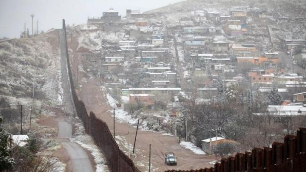 The barrier dividing the US city of Nogales in Arizona from Nogales in Mexico.