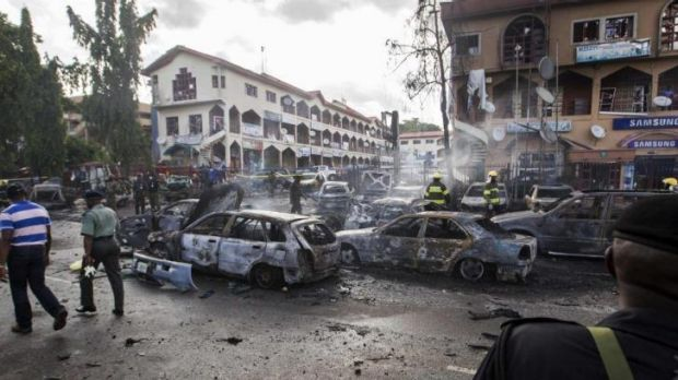 The scene of a blast in Abuja that killed at least 21 people last week.
