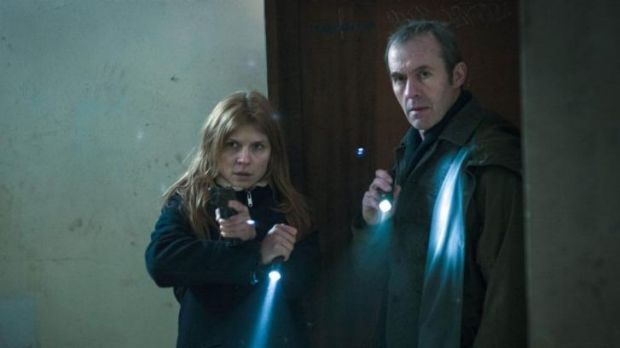 Retread: Clemence Posey as Elise and Stephen Dillane as Karl in <i>The Tunnel.</i>