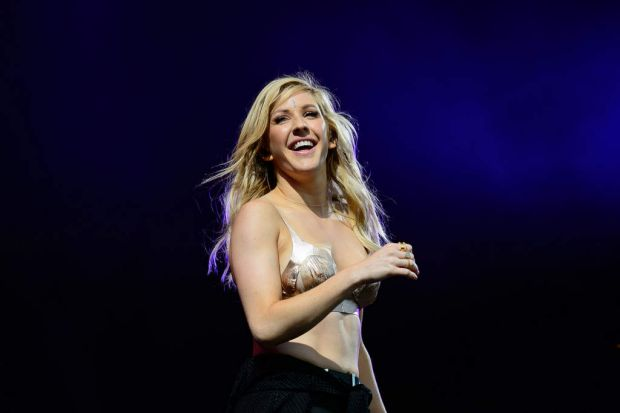British singer Ellie Goulding performs on the final day of the Glastonbury Festival.