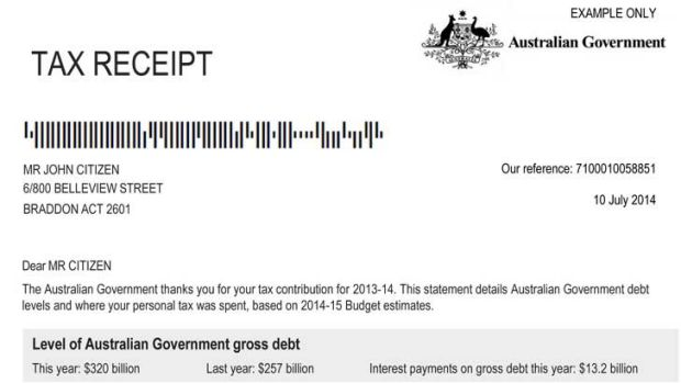 An example of a letter to be sent to taxpayers by the Abbott Government.