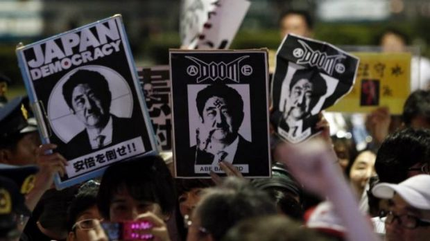 Around 10,000 demonstrators gathered in front of Prime Minister Shinzo Abe's residence in protest.