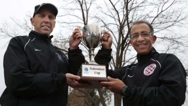 Belconnen United coach Dean Ugrinic and Canberra FC coach Ray Junna.