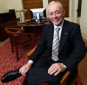 Senator Bob Day moves into his new office.