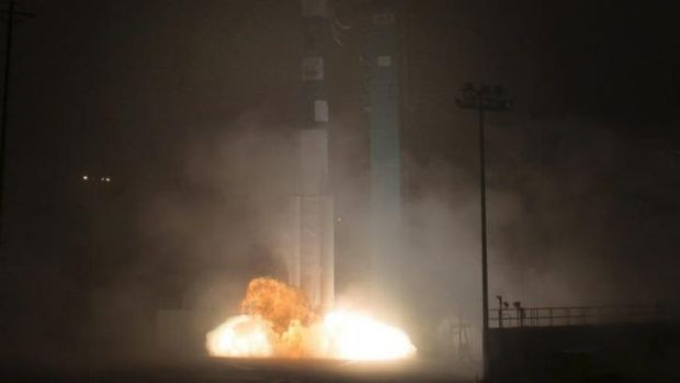 Lift off of the Delta 2 rocket.