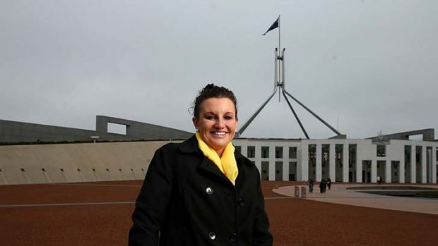 Jacqui Lambie on her first day at Parliament House as a senator.
