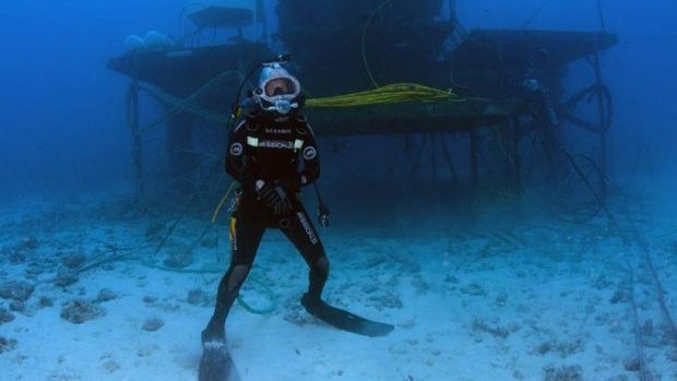 Cousteau's month underwater included regular dives outside the marine laboratory Aquarius.