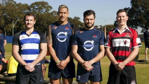 Pride (in the name of rugby): Israel Folau with Sydney Convicts' Brennan Bastyovansky, Adam Ashley-Cooper and Macquarie ...