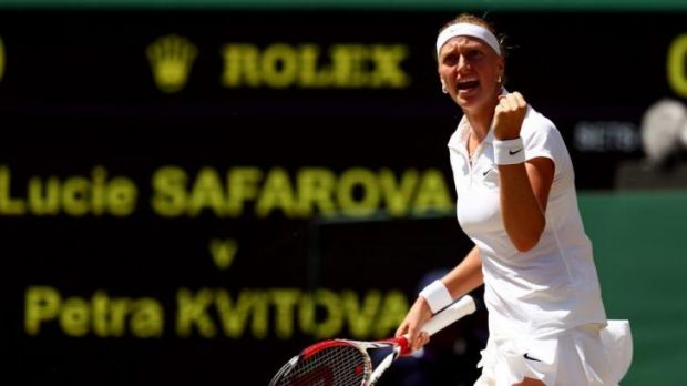 Petra Kvitova celebrates during her semi-final against Lucie Safarova.