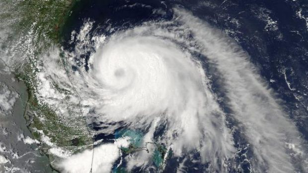 Tropical Storm Arthur, now known as Hurricane Arthur, is pictured off the Florida coast on its way north.