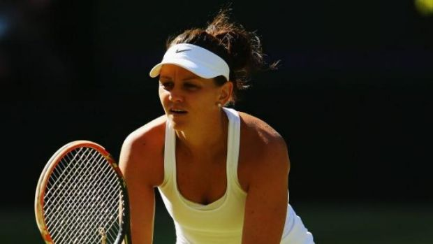 Casey Dellacqua in action at Wimbledon.