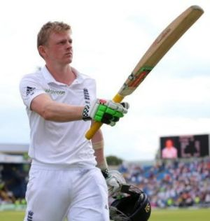 Maiden ton: Sam Robson accepts the applauds from fans of his adopted country.