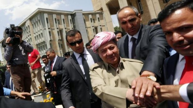 Seeking independence vote ... The president of Iraq's autonomous Kurdistan region, Massud Barzani (centre) arrives for a ...