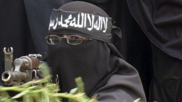 A female Al Shebab fighter  north of Mogadishu in 2010.