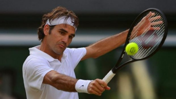 Eyes on target ... Roger Federer cruised into the final past Canada's big-serving Milos Raonic 6-4, 6-4, 6-4.