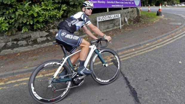 Going for a spin: Mark Cavendish trains in northern England.