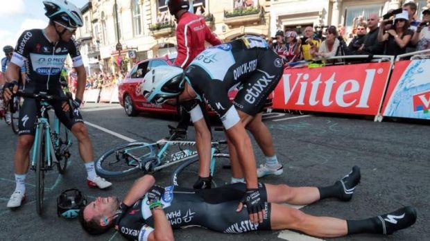 Down and probably out: Mark Cavendish.