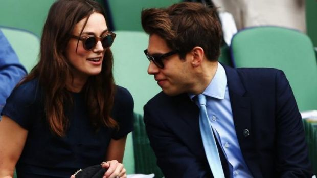 Actress Keira Knightley and musician James Righton sit in the Royal Box.