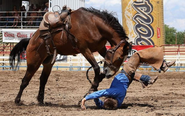 "Bryce Quinn is thrown from his horse as he competes in the Bronc Riding at the Prescott Frontier Days, ""World's Oldest ..."