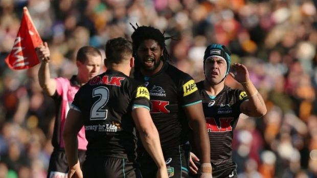 On the prowl: Panthers centre Jamal Idris was fired up during his team's win over the Tigers.