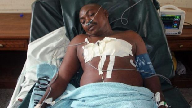 A victim of the latest attack along the Kenyan coast is treated in hospital in Lamu County on Sunday.