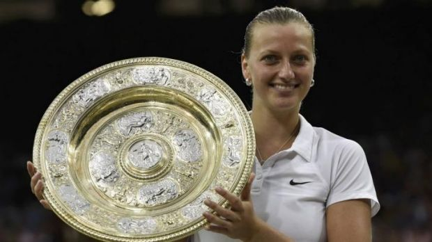 All smiles: Kvitova with her second Wimbledon trophy.
