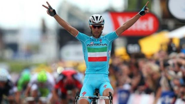 Astana's Vincenzo Nibali crosses the line in Sheffield to win the second stage of the 2014 Tour de France.