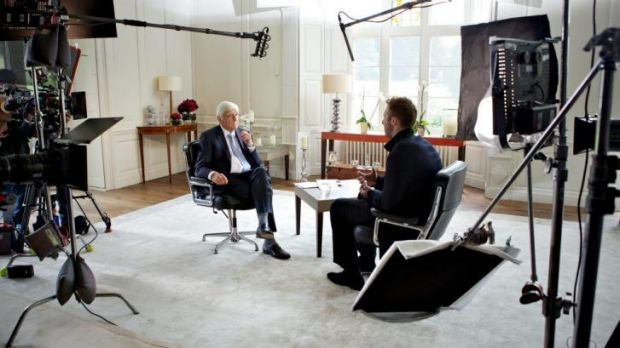 Sir Michael Parkinson and Ian Thorpe shooting the tell-all interview.