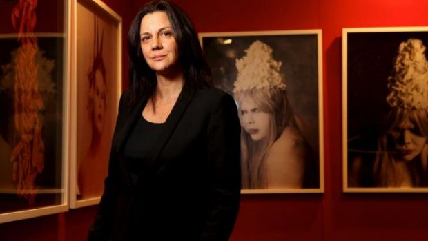 Curator and writer Hetti Perkins with works by indigenous artist Christian Thompson, who is featured in the second ...