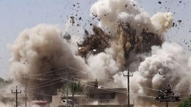 An image posted on a Sunni militant website shows a Shiite mosque in Mosul being destroyed, one of a series of shrines ...