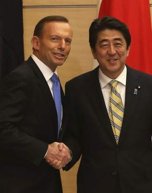 Tony Abbott with Japanese PM Shinzo Abe in Japan in April.