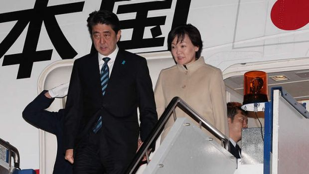 Japanese Prime Minister Shinzo Abe and his wife Akie Abe arrive in Australia.
