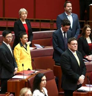Middle powers: The new Senate crossbenchers at their seats on Monday.