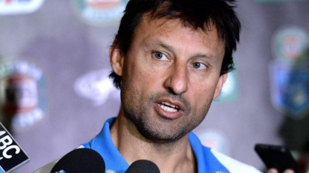 Laurie Daley addresses the media in the lead-up to Origin III.