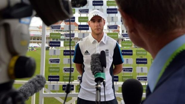 England fast bowler Stuart Broad speaks to the media ahead of a practice session at Trent Bridge on Monday.