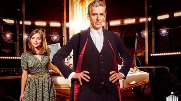 Peter Capaldi as Doctor Who, with Jenna Coleman.