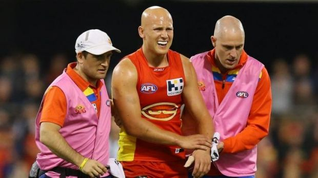 Gary Ablett leaves the field on Saturday night.