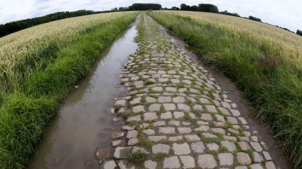 Cobble trouble: A cobblestone-paved section in Orchies, northern France which is part of  of Wednesday's fifth stage of ...