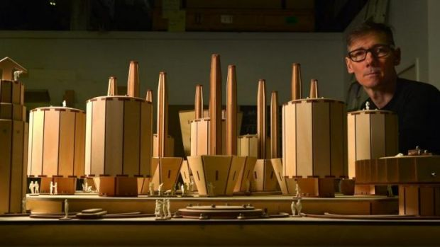 Peter Hennessey with new models for his forthcoming exhibition