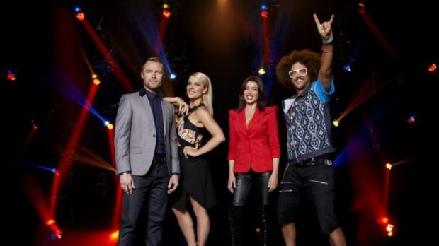Larger than life: The X Factor Australia judges.
