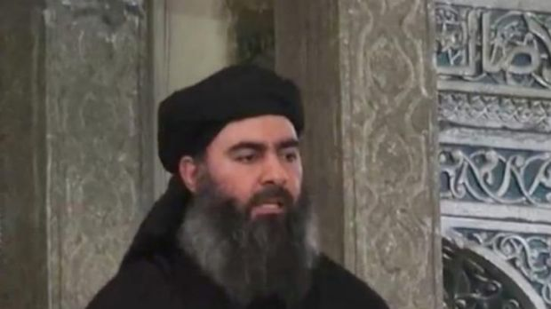 Abu Bakr al-Baghdadi, wearing the watch that has captured social media attention.
