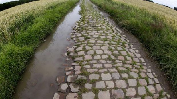 A section of the cobblestone road cyclists will tackle during stage five of the Tour de France.